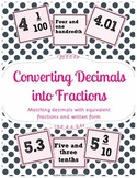 Decimals to Fractions Sort-Card Game Center {Common Core Aligned}
