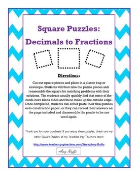 Decimals to Fractions: Square Puzzles