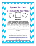 Decimals to Fractions: Square Puzzles