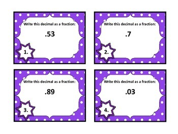Decimals to Fractions Task Cards