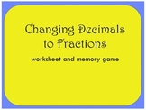 Decimals to Fractions Worksheet and Match Game