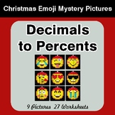 Decimals to Percents - Christmas EMOJI Color-By-Number Math Mystery Pictures