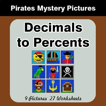 Decimals to Percents - Color-By-Number Mystery Pictures
