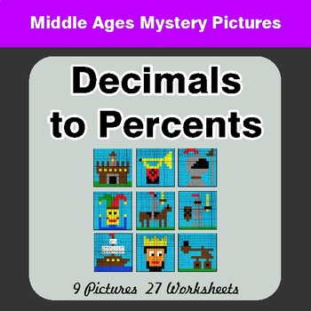 Decimals to Percents - Color-By-Number Math Mystery Pictures