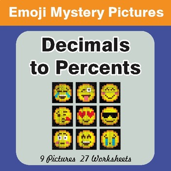 Decimals to Percents EMOJI Mystery Pictures