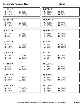 Decimals to Percents Quiz - Test - Assessment - Worksheets