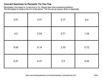 Decimals to Percents Tic-Tac-Toe