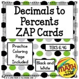 Decimals to Percents Zap Cards TEKS 6.4G