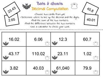 Decimals to the Hundredths Computation Halloween