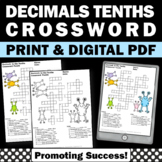 Decimals to the Tenths Crossword Puzzle, Place Value 4th Grade Math Review