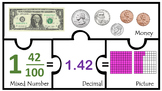 TEK 4.2G Decimals with Whole Numbers Fractions Money Fract
