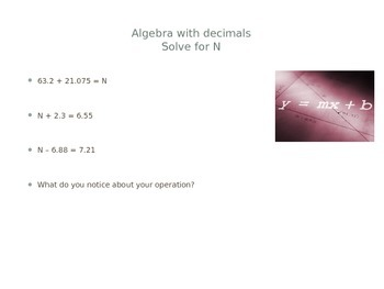 Decimals with adding and subtracting PowerPoint with fractions facts
