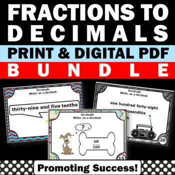 Converting Fractions to Decimals Task Cards BUNDLE, Decimals Games SCOOT