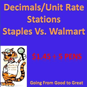 Decimals/Unit Rate Stations (Staples VS. Walmart prices)