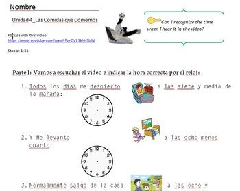 Decir La Hora con Sam el Gato_Listening Activities and Telling Time