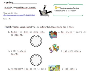 Decir La Hora con Sam el Gato_Listening Activities and Telling Time