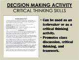 Decision Making Activity - Critical Thinking Skills - Icebreaker