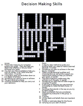 Decision Making Crossword Puzzle for use in FCS Interpersonal Studies Class
