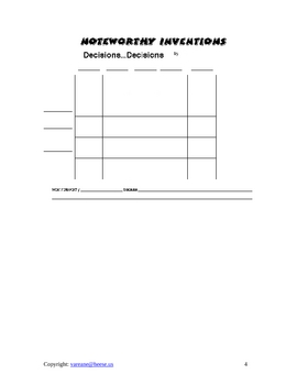 Decision Making Grids- Higher Level Thinking Lesson Plan