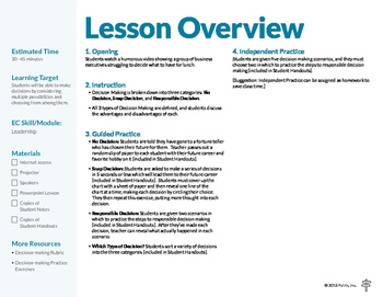 Decision Making Lesson Overview