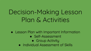 Decision-Making Lesson Plan & Activities
