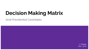 Decision-Making Matrices: 2016 Presidential Election