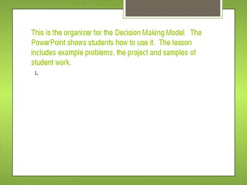 Decision Making Project. Making Choices