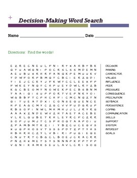 Decision Making Vocabulary Word Search