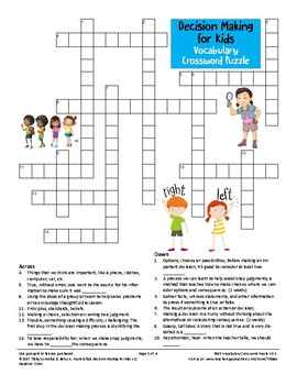 Decision Making for Kids: Vocabulary Crossword Puzzle