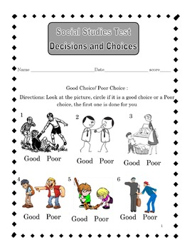Decision making and choices test