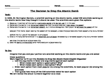 Decision to Drop the Atomic Bomb Questionnaire