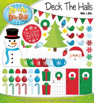 Deck The Halls Christmas Clipart {Zip-A-Dee-Doo-Dah Designs}