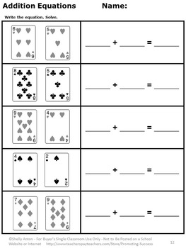 Kindergarten Addition and Subtraction Worksheets Deck of Cards Math Review