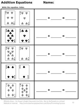Kindergarten Addition and Subtraction Worksheets Deck of ...