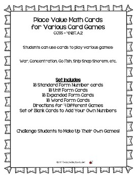 Deck of Place Value Math Cards CCSS - 4.NBT.A.2