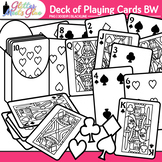 Deck of Playing Cards Clip Art |Great for Worksheets & Handouts for Math | B&W