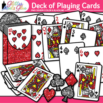 Deck of Playing Cards Clip Art: Math Game Graphics {Glitter Meets Glue}