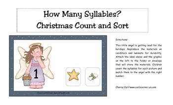 Deck the Halls Christmas Syllables Literacy Center