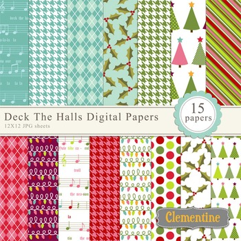 Deck the Halls Christmas digital paper