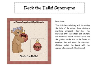 Decks the Halls! Christmas Synonyms Literacy Center