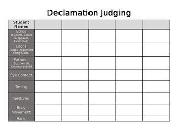 Declamation/Speech Judging