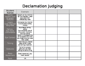 Declamation/Speech Judging