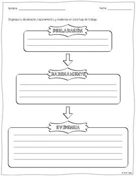 Declaración, Razonamiento, Evidencia – Organizador Gráfico