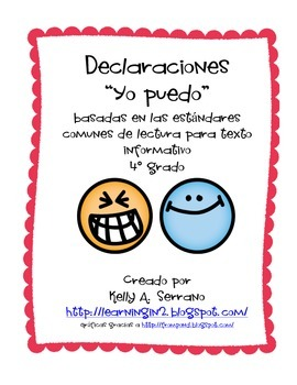 I CAN Statemements ( 4th grade / informational text / Spanish)