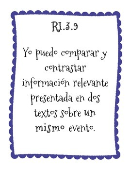 I CAN Statemements ( 3rd grade / informational text / Spanish)