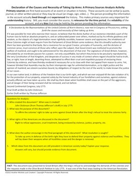 Declaration Causes Necessity (Arms) American Revolution Document Analysis