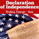Declaration of Independence Activity ( Reading Passage + Quiz)