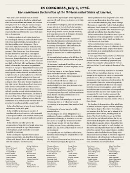 Declaration of Independence. 18 x 24 printable poster.