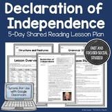 Declaration of Independence: 5-Day Shared Reading Lesson Plan