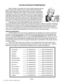 Declaration of Independence, AMERICAN HISTORY LESSON 22 of 100, Activity+Quiz